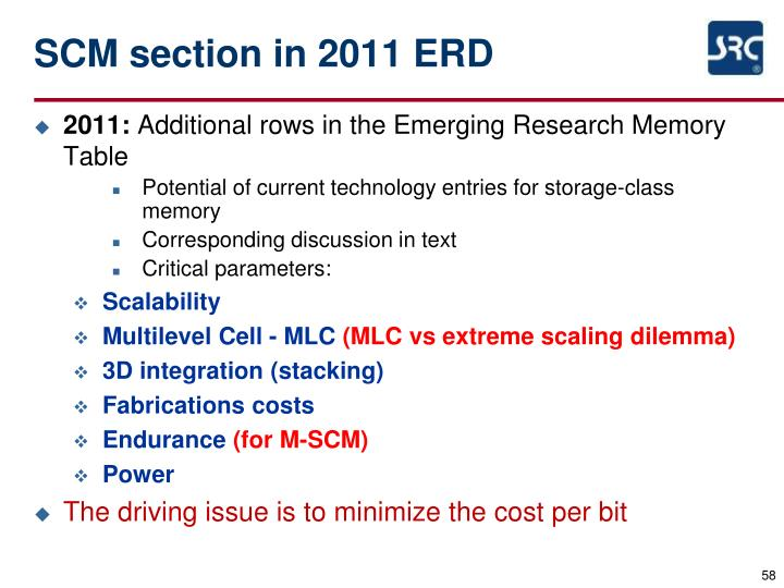 SCM section in 2011 ERD