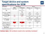 target device and system specifications for scm