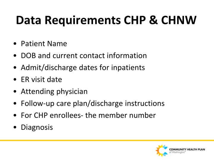 Data Requirements CHP & CHNW
