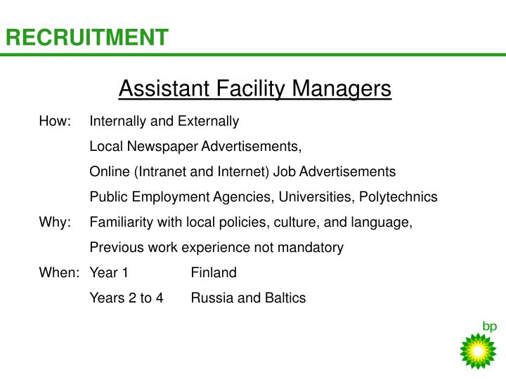 Assistant Facility Managers