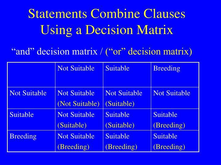 Statements Combine Clauses Using a Decision Matrix