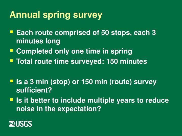 Annual spring survey