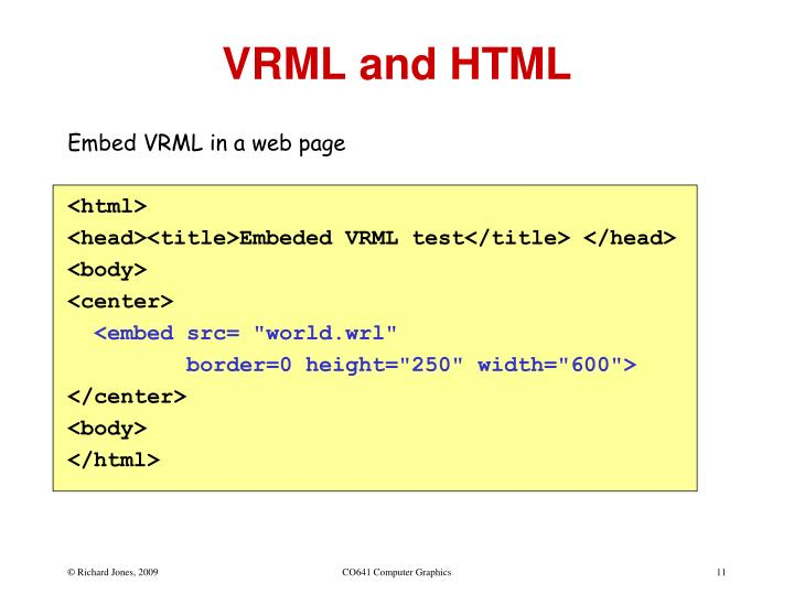 VRML and HTML