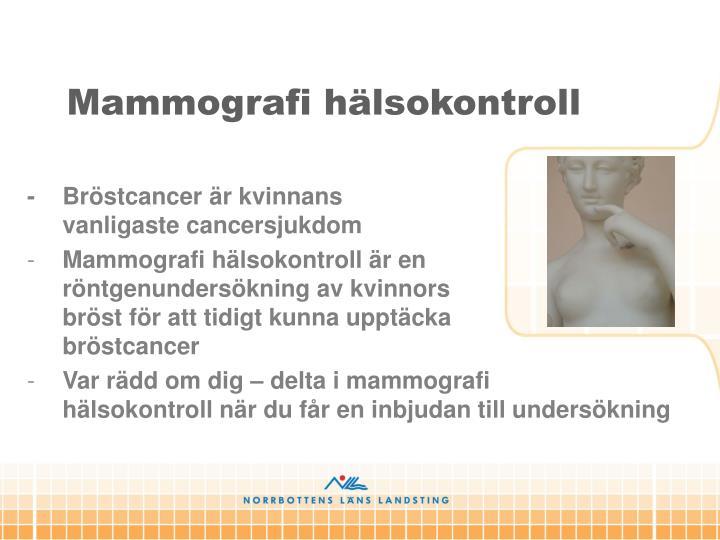 Mammografi hälsokontroll