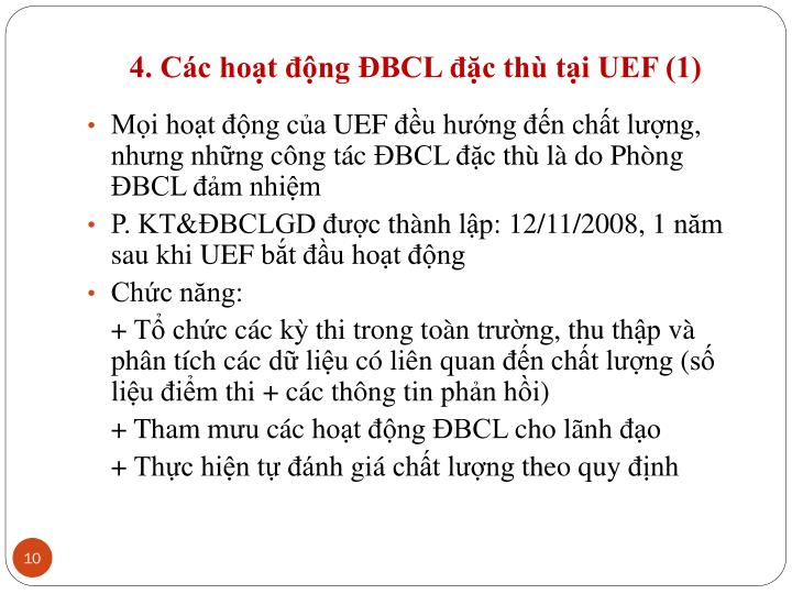 4. Các hoạt động ĐBCL đặc thù tại UEF (1)