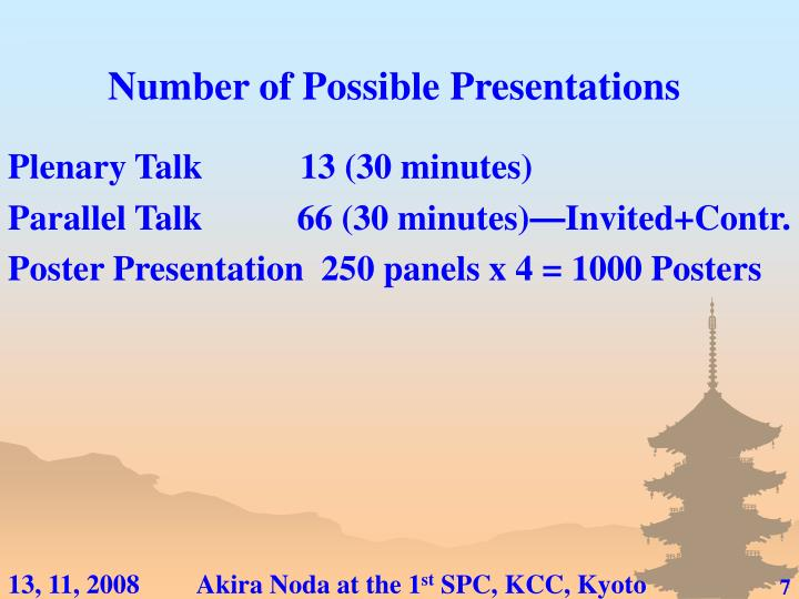 Number of Possible Presentations