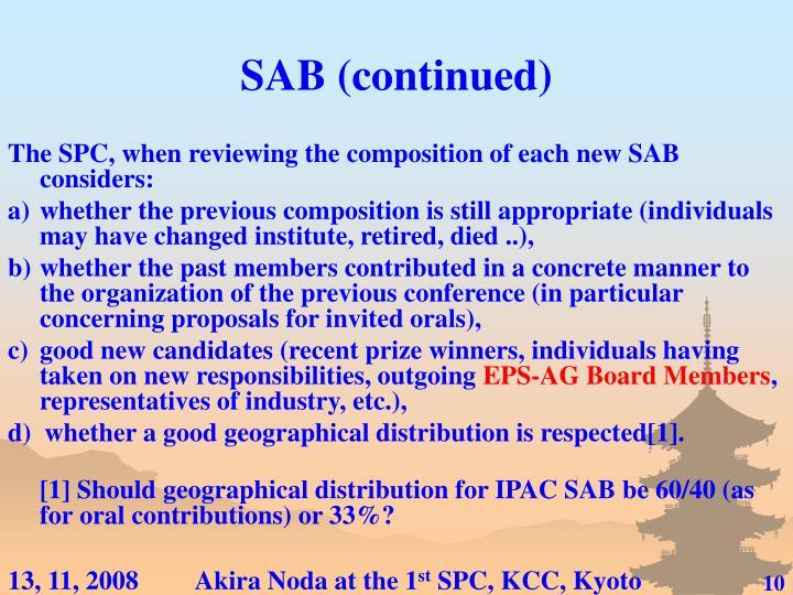 SAB (continued)
