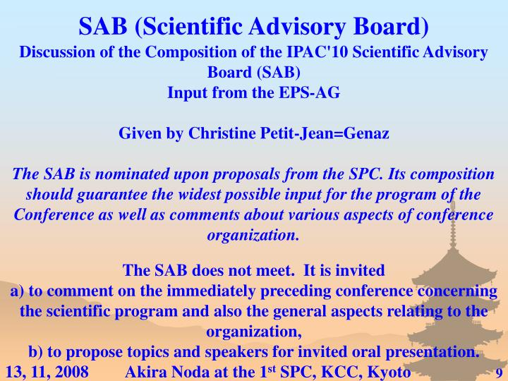 SAB (Scientific Advisory Board)