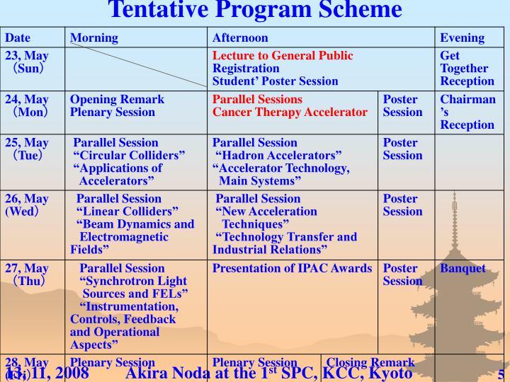 Tentative Program Scheme