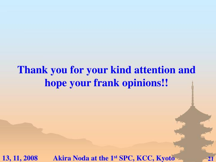 Thank you for your kind attention and hope your frank opinions!!