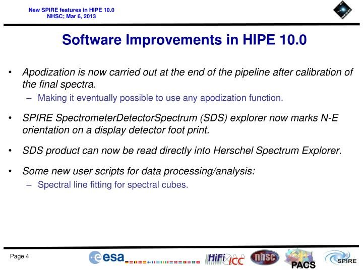 Software Improvements in HIPE 10.0
