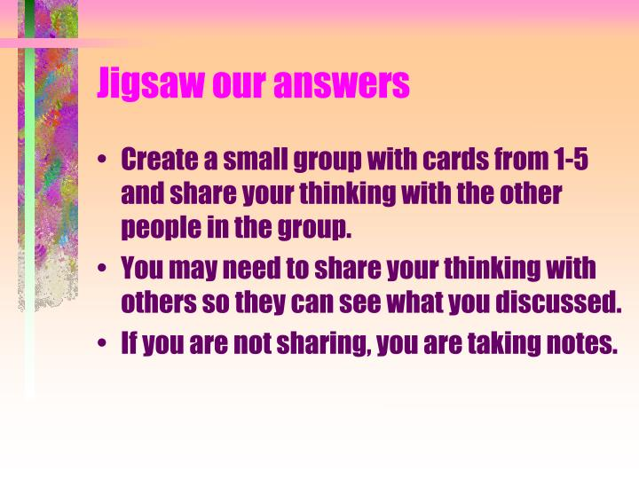 Jigsaw our answers