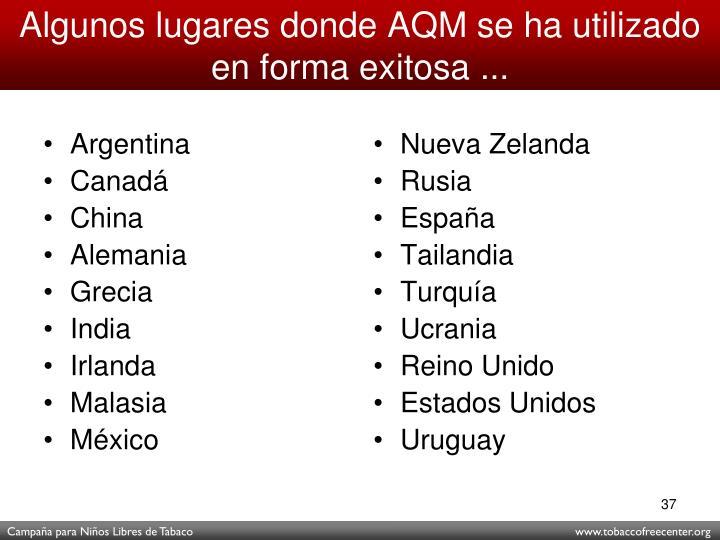 Algunos lugares donde AQM se ha utilizado en forma exitosa ...