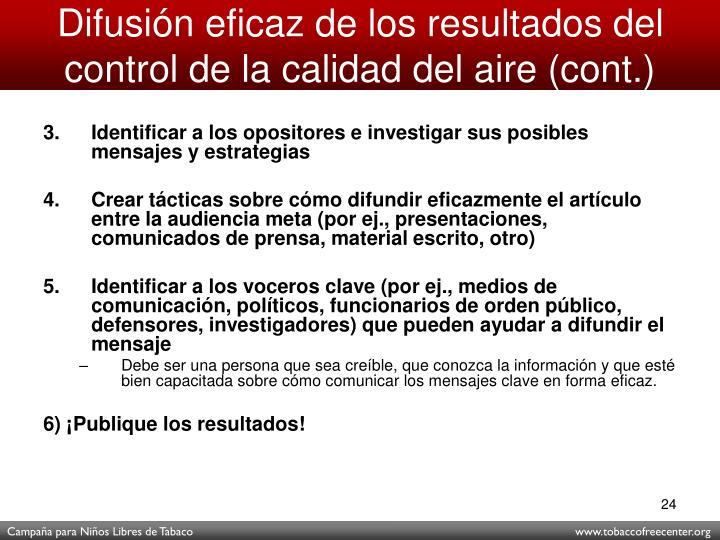 Difusión eficaz de los resultados del control de la calidad del aire (cont.)