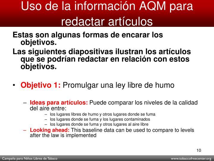 Uso de la información AQM para redactar artículos