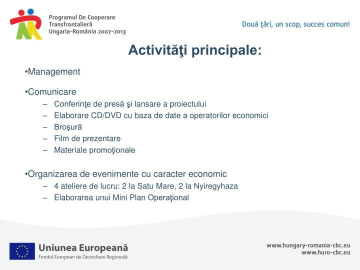 Activităţi principale: