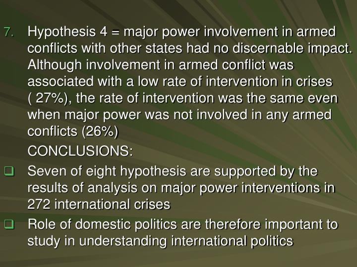 Hypothesis 4 = major power involvement in armed conflicts with other states had no discernable impact. Although involvement in armed conflict was associated with a low rate of intervention in crises