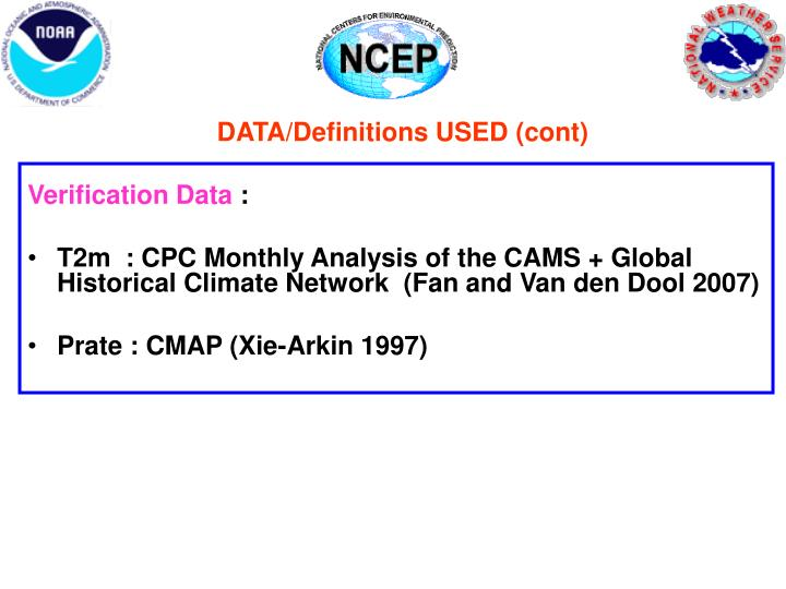DATA/Definitions USED (cont)