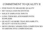 commitment to quality ii