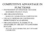 competitive advantage in functions