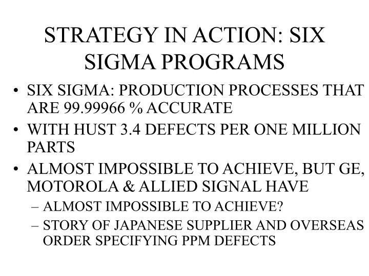 STRATEGY IN ACTION: SIX SIGMA PROGRAMS
