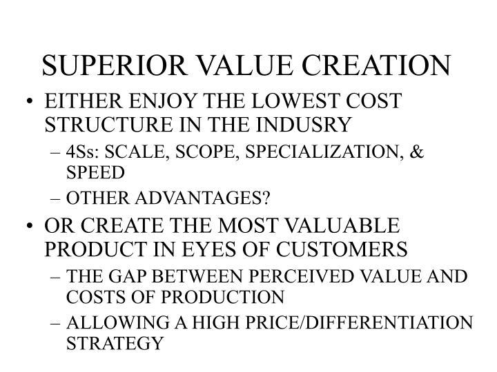 SUPERIOR VALUE CREATION