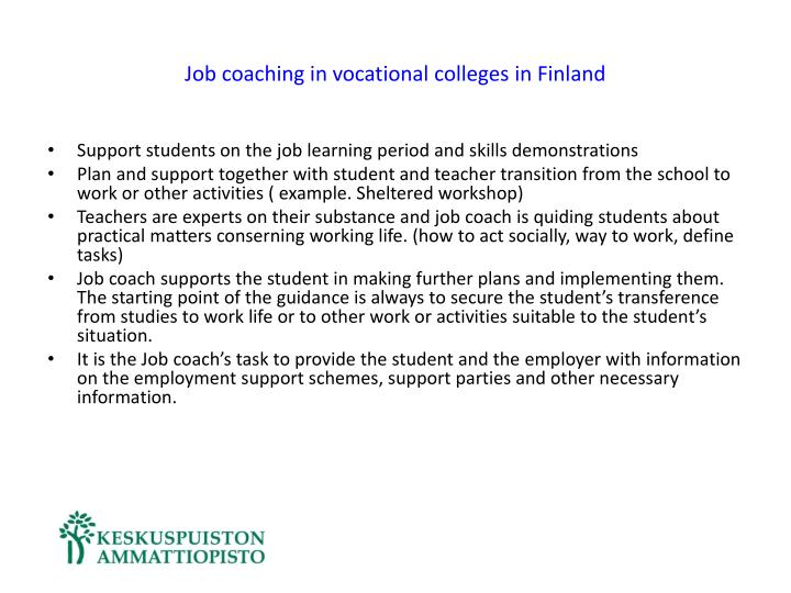 Job coaching in vocational colleges in Finland