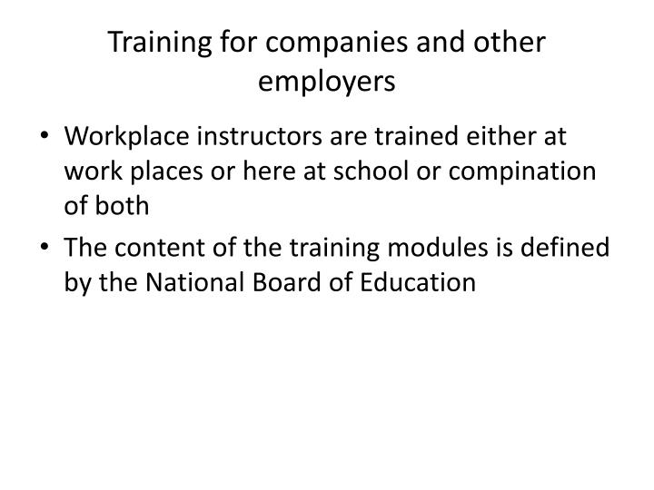 Training for companies and other employers