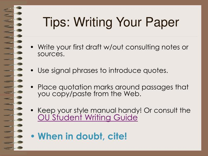 Tips: Writing Your Paper
