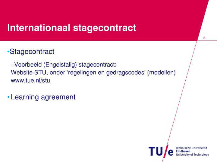 Internationaal stagecontract