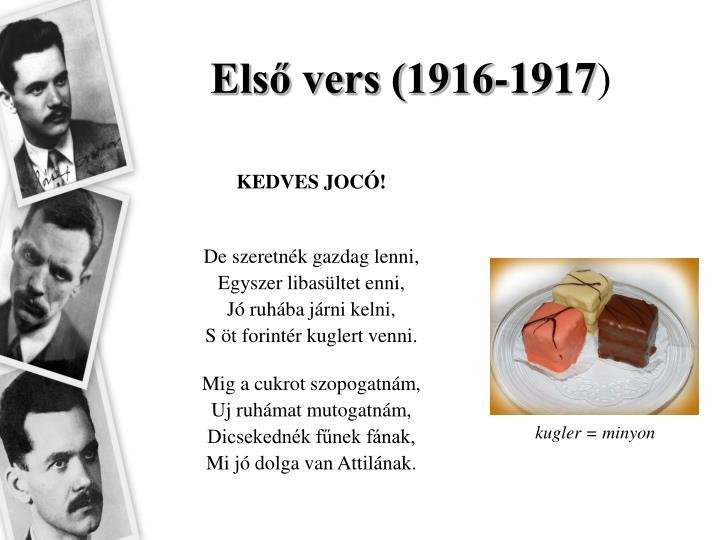 Első vers (1916-1917