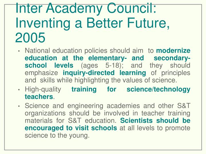 Inter Academy Council: Inventing a Better Future, 2005