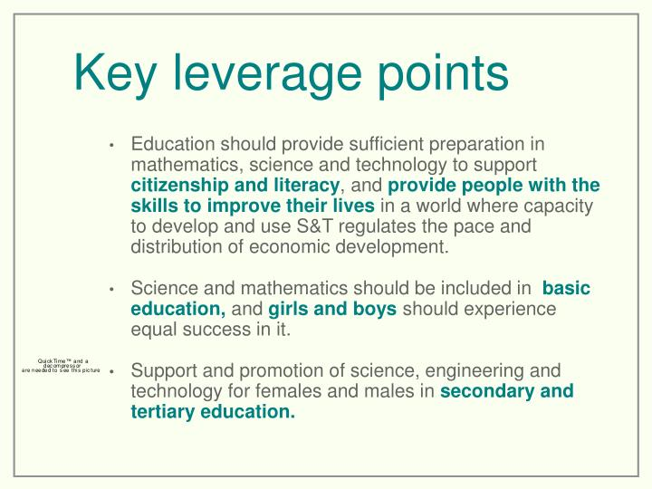 Key leverage points