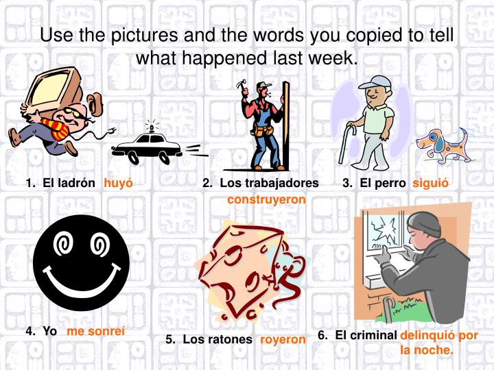 Use the pictures and the words you copied to tell what happened last week.