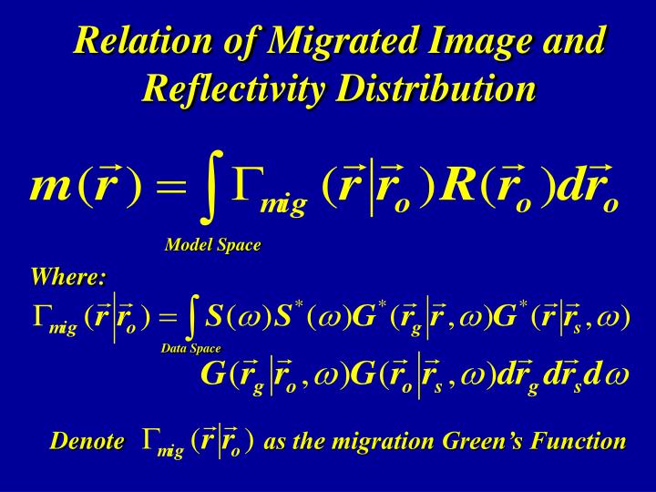 Relation of Migrated Image and Reflectivity Distribution