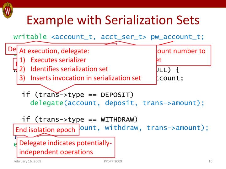 Example with Serialization Sets
