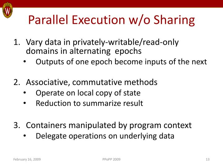 Parallel Execution w/o Sharing