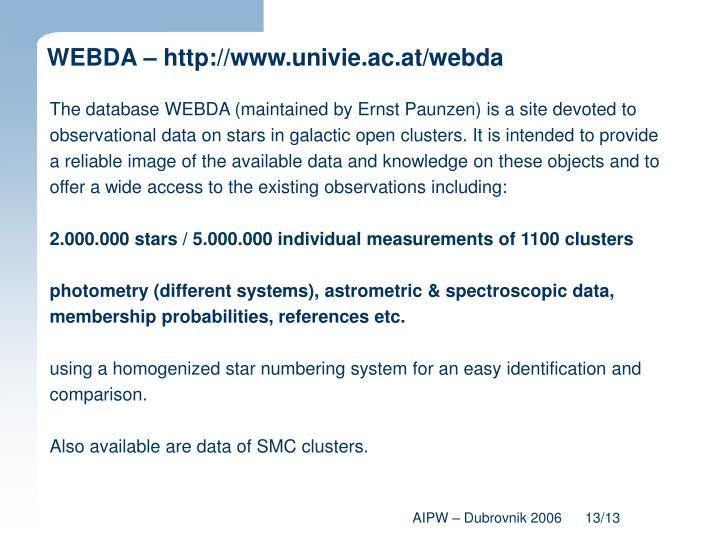 WEBDA – http://www.univie.ac.at/webda