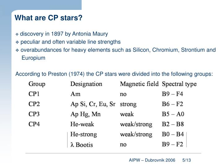 What are CP stars?