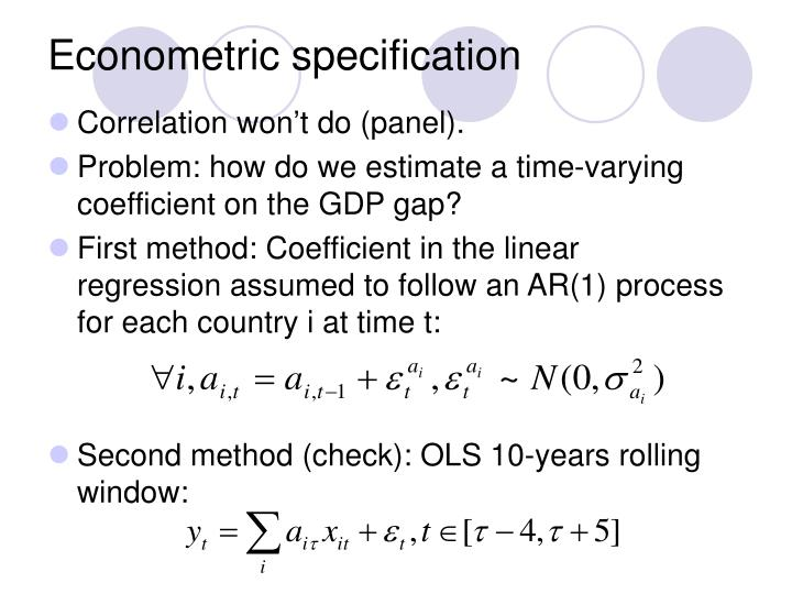 Econometric specification