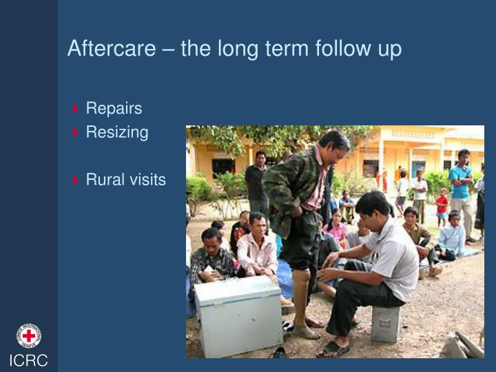 Aftercare – the long term follow up