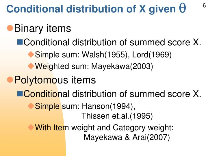 Conditional distribution of X given