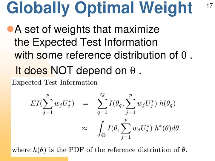 Globally Optimal Weight