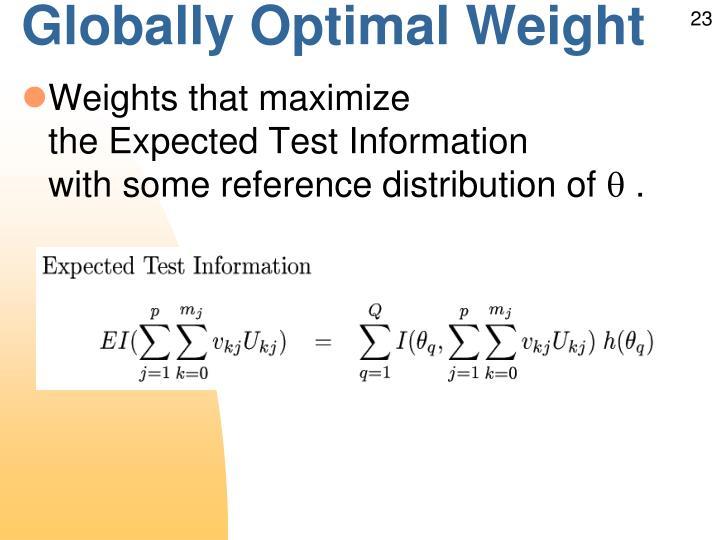 Globally Optimal Weight