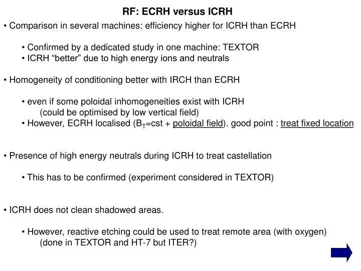 RF: ECRH versus ICRH