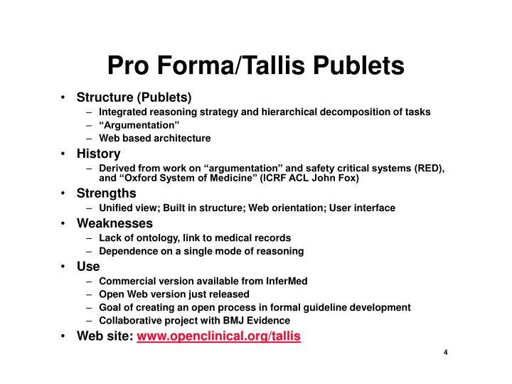 Pro Forma/Tallis Publets