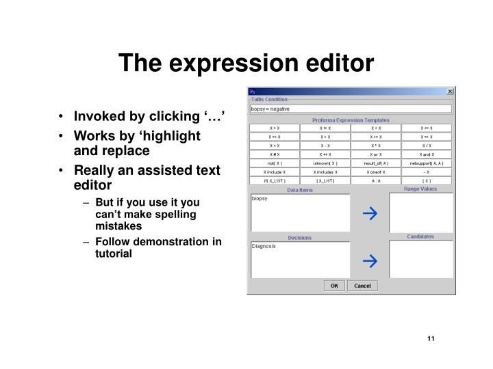 The expression editor