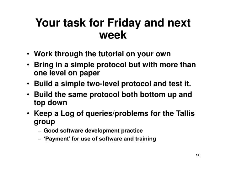 Your task for Friday and next week