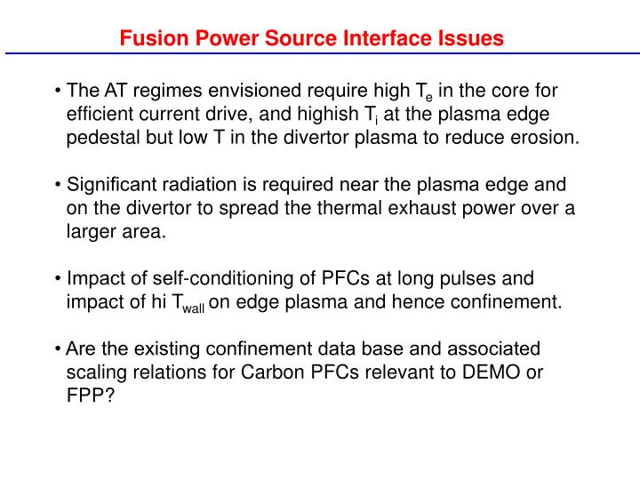 Fusion Power Source Interface Issues