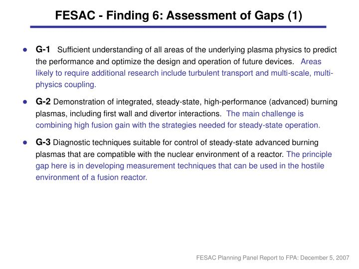 FESAC - Finding 6: Assessment of Gaps (1)